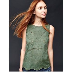 GAP Olive Eyelet Embroidered Scalloped Tank Top